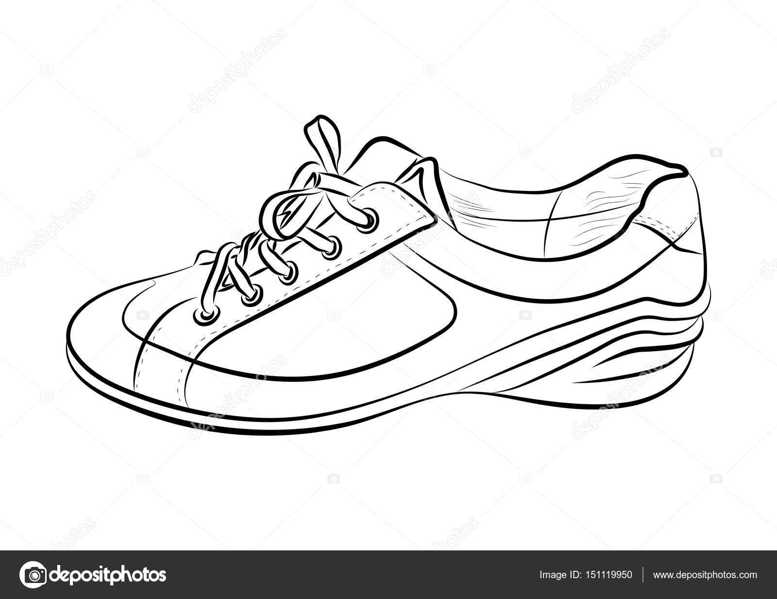 Boceto dibujado mano de zapatos de deporte, zapatillas para el ...
