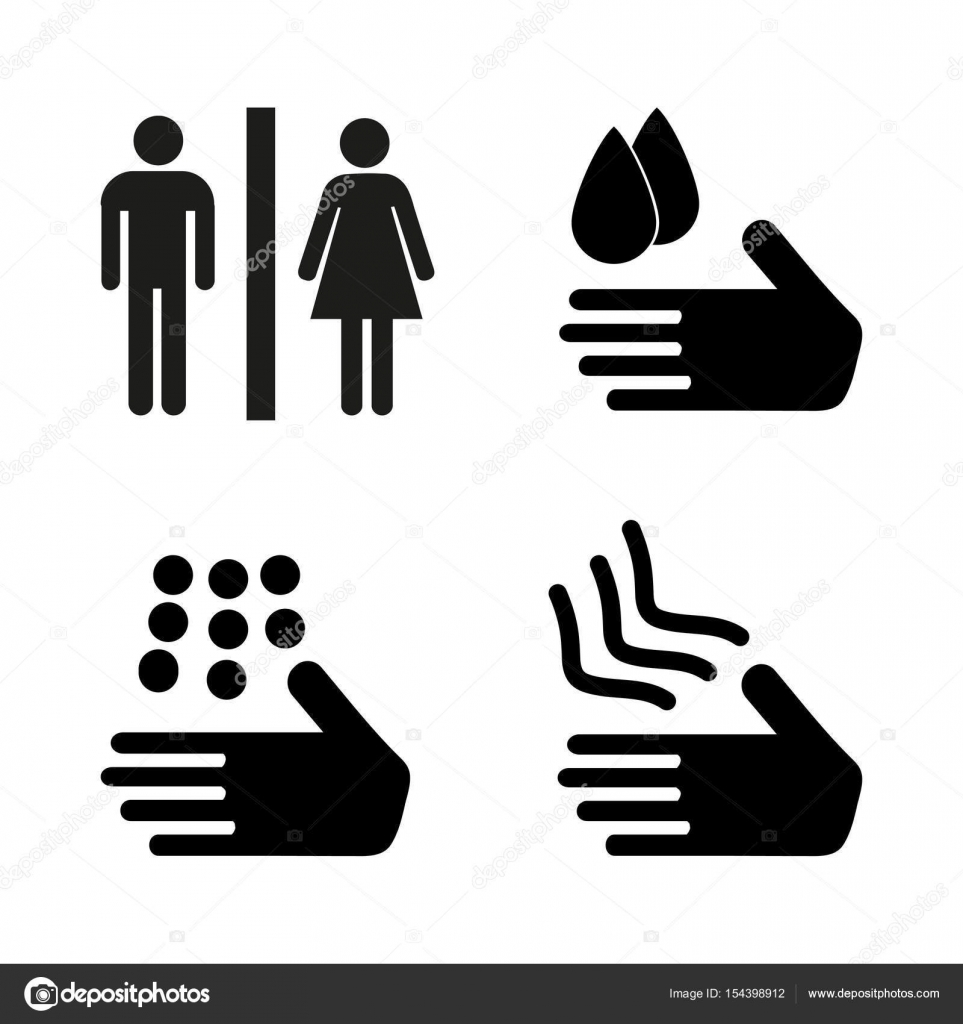 Ein Mann Und Eine Dame Toilette Unterzeichnen Sichere Händewaschen