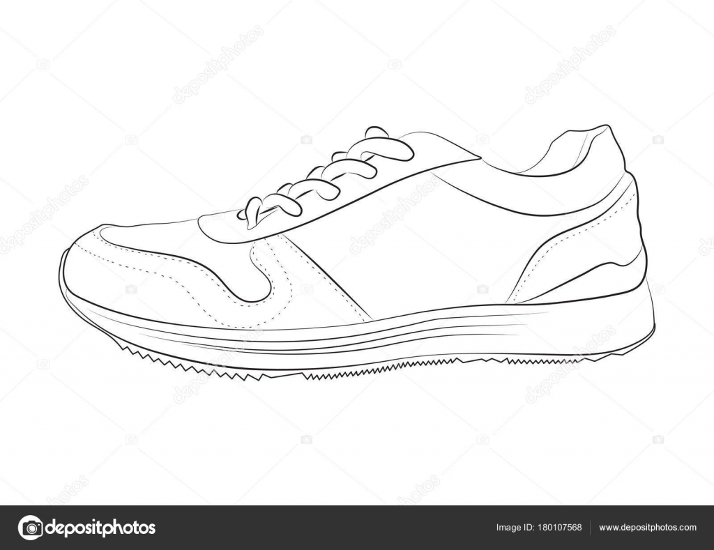 Line Art Shoes : Hand drawn sketch sport shoes sneakers summer vector stock