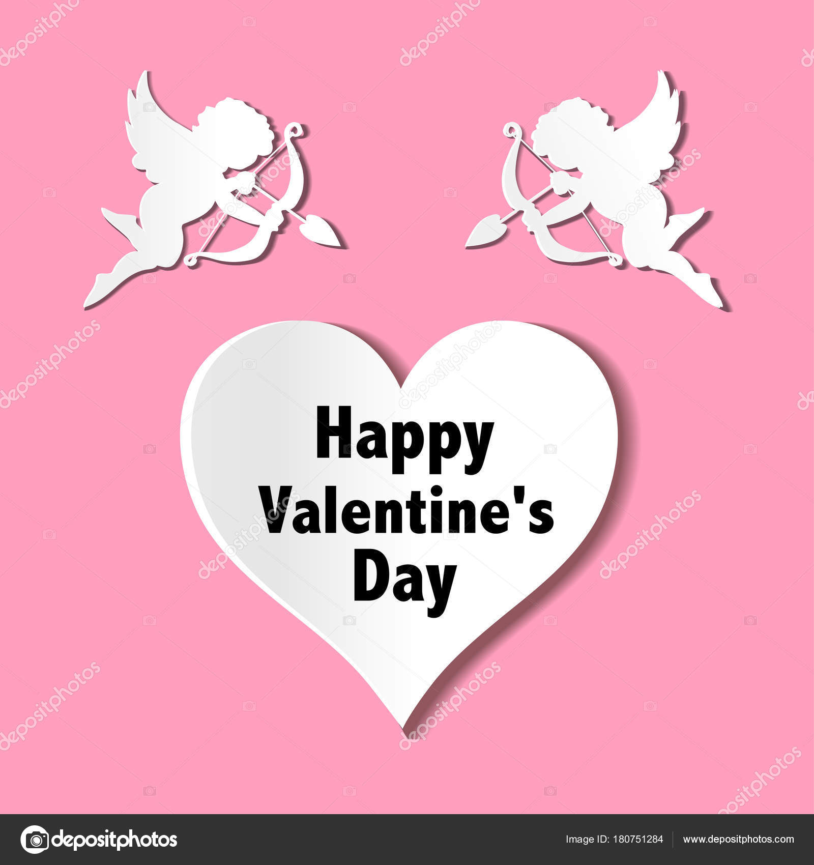 Valentines Day Cards Ornaments Hearts Angel Arrow Stock Vector