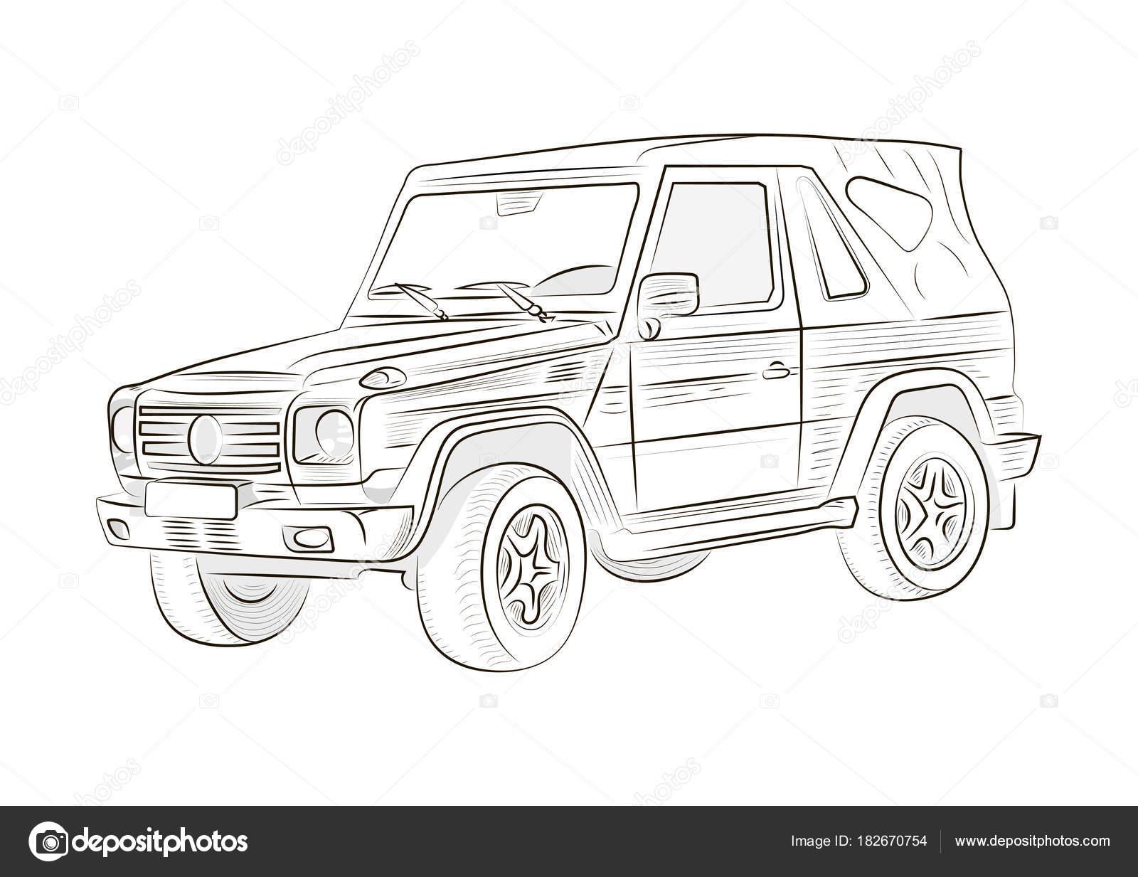 Skizze Eines Autos Auf Einem Weißen Hintergrund Vektor Illustration ...