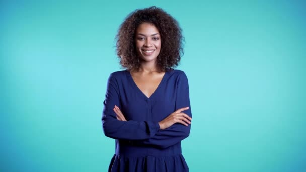 Attractive african american woman with afro hair in business clothing smiling to camera over blue wall background. Cute mixed race girls portrait