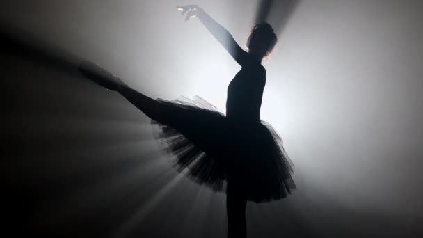 Young ballerina on smoke stage dancing modern ballet. Performs smooth movements