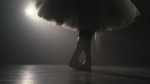 Close up of ballerina shows classic ballet pas. Ballet dancer practices in jumping exercises in smoky gym. Womans feet in pointe shoes. Slow motion. Flare shot.