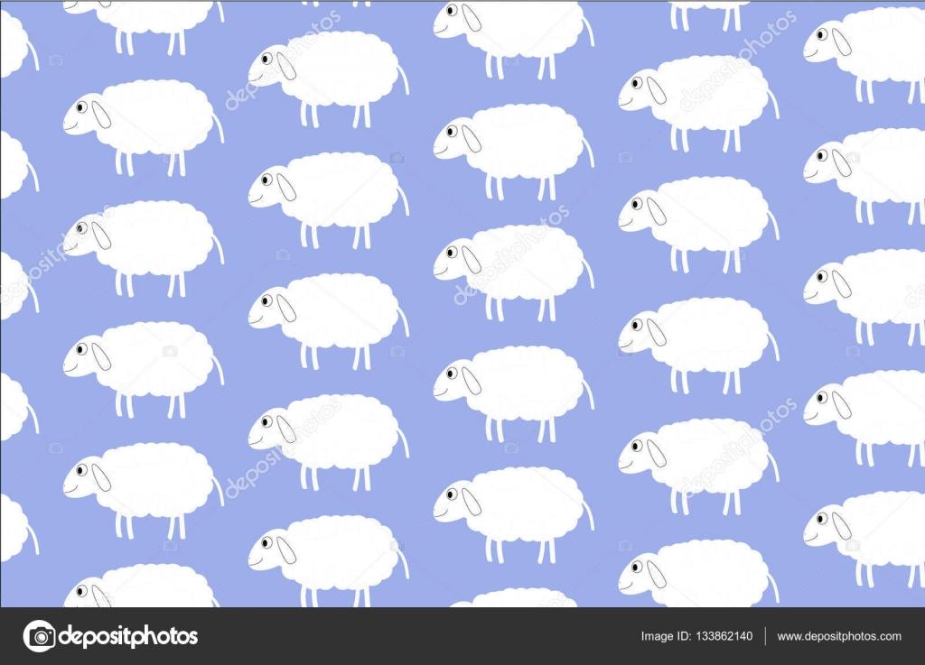 Sheep Illustration Lamb Wallpaper Animal Funny Pattern Stock Vector