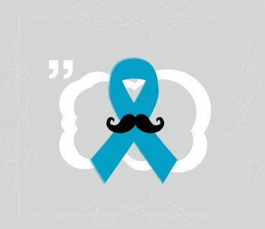Prostate cancer ribbon awareness on grey background. Light blue ribbon with mustache. Graves Disease