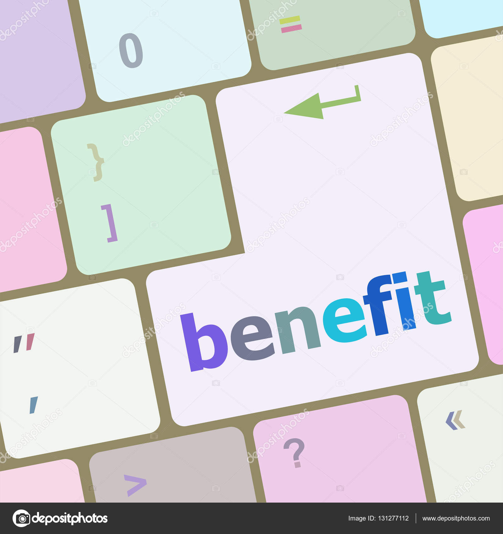 Benefit button on keyboard key with soft focus — Stock Photo
