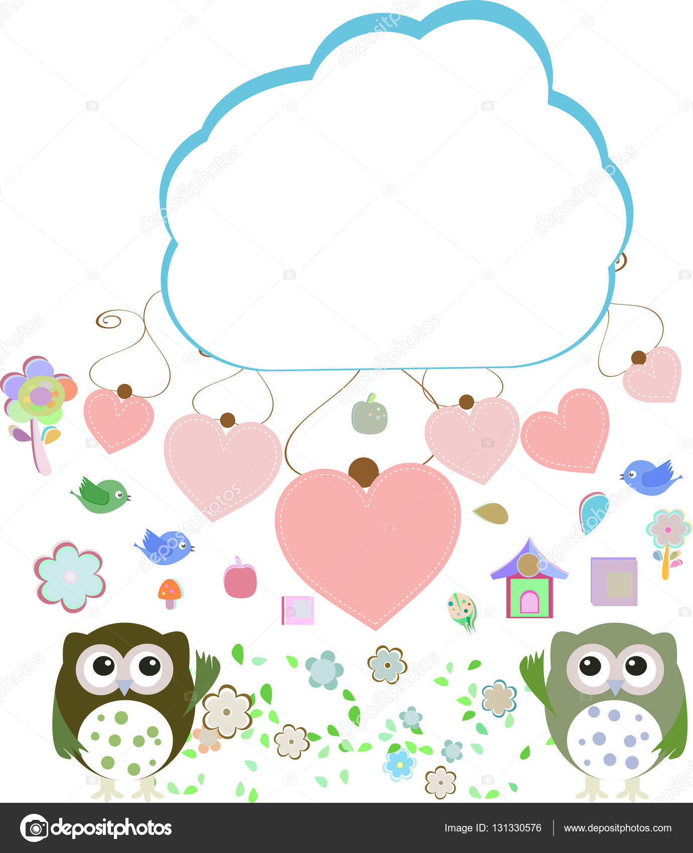 Eulen, Vögel, Blumen, Wolken und Liebe Herz — Stockfoto © fotoscool ...