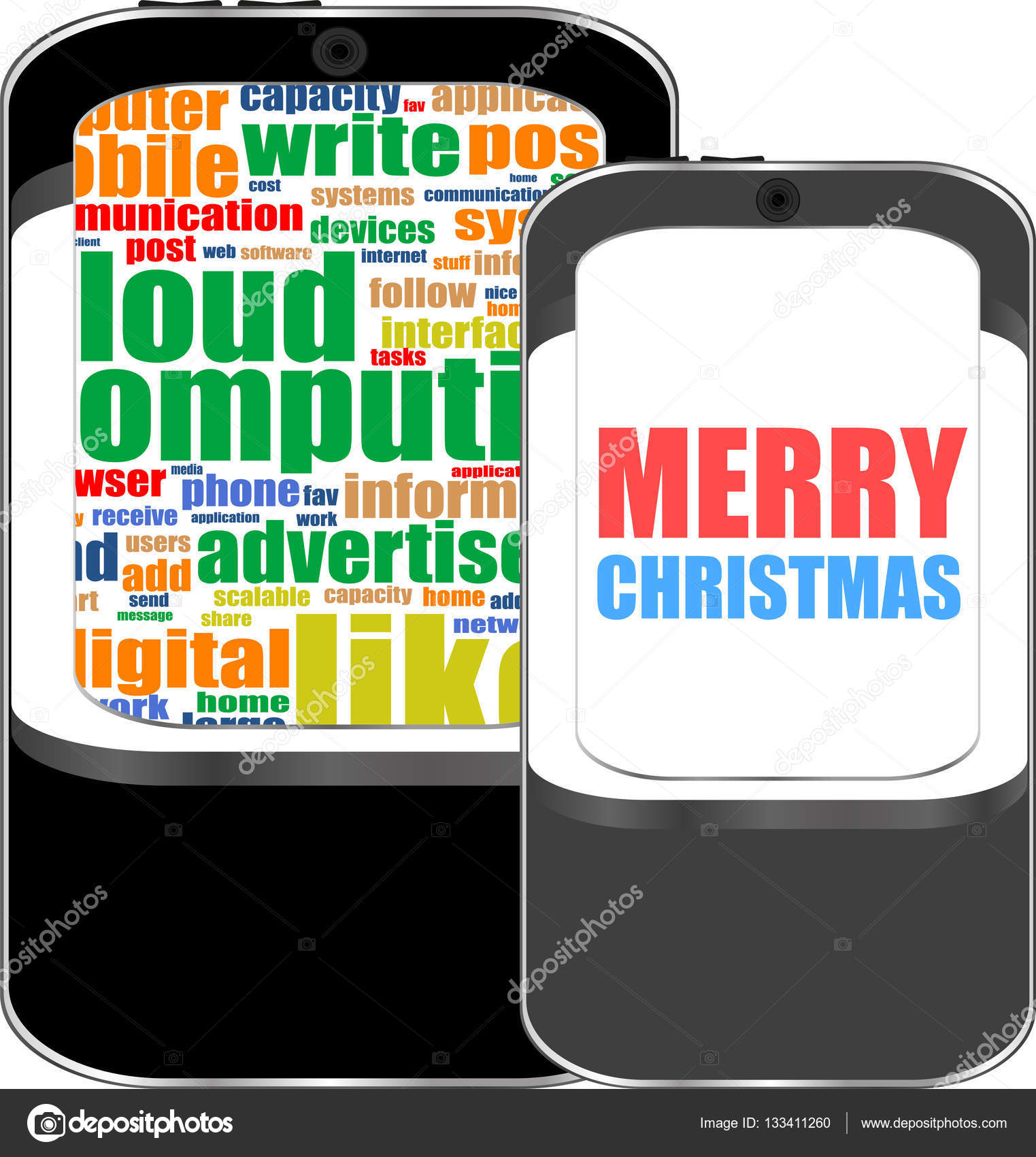 Smart Phone With Merry Christmas Greetings On The Screen Holiday