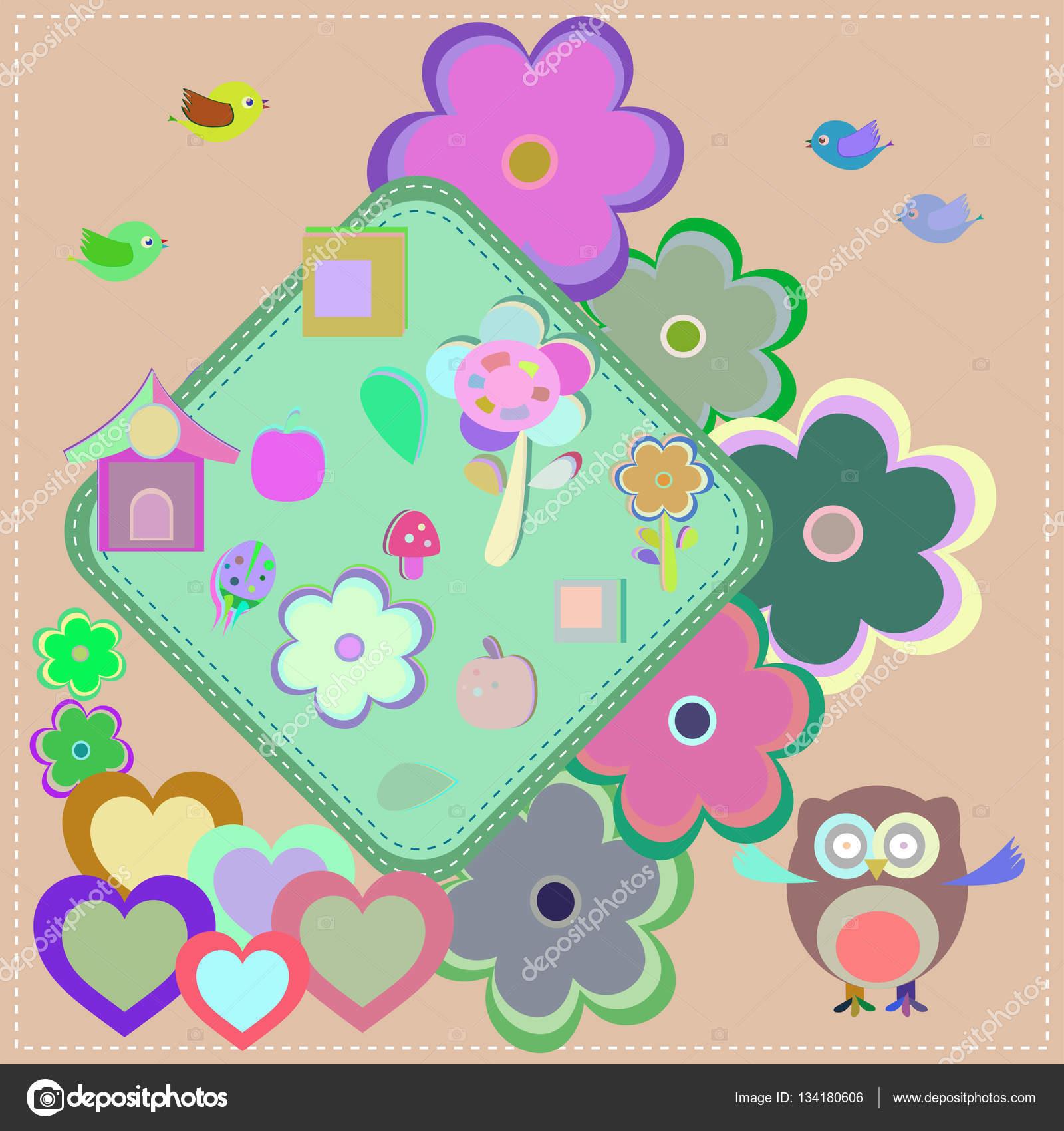 Zaproszenie Wzór Z Sowa Kwiatki Dla Dzieci Zdjęcie Stockowe