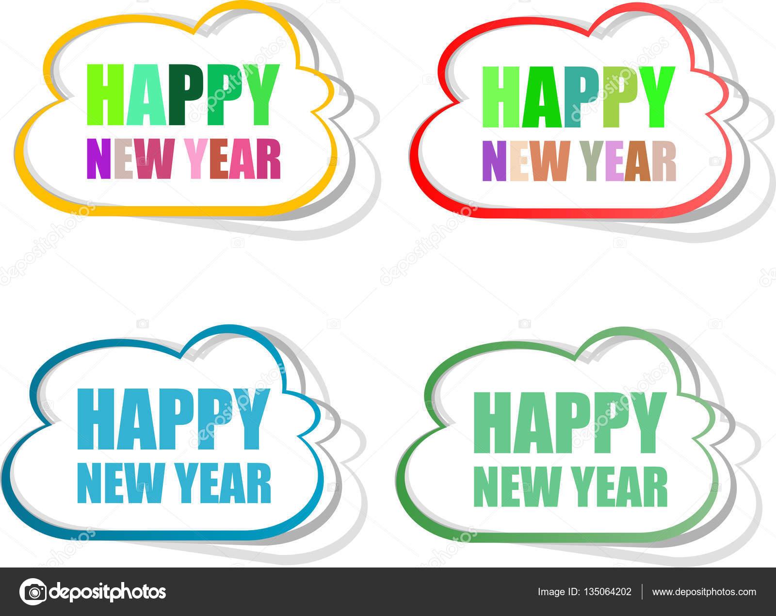Gelukkig Nieuwjaar Stickers Set Geisoleerd Op Wit Stockfoto