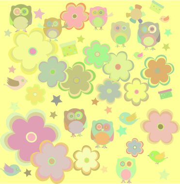 retro flowers and owl kids background pattern,