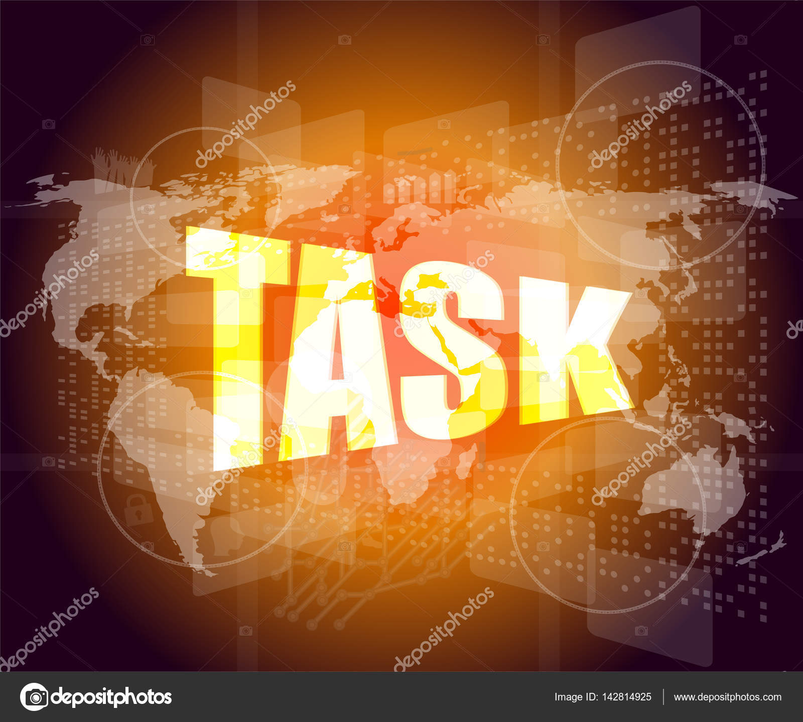 Task word on digital screen background with world map stock photo task word on digital screen background with world map stock photo gumiabroncs Choice Image