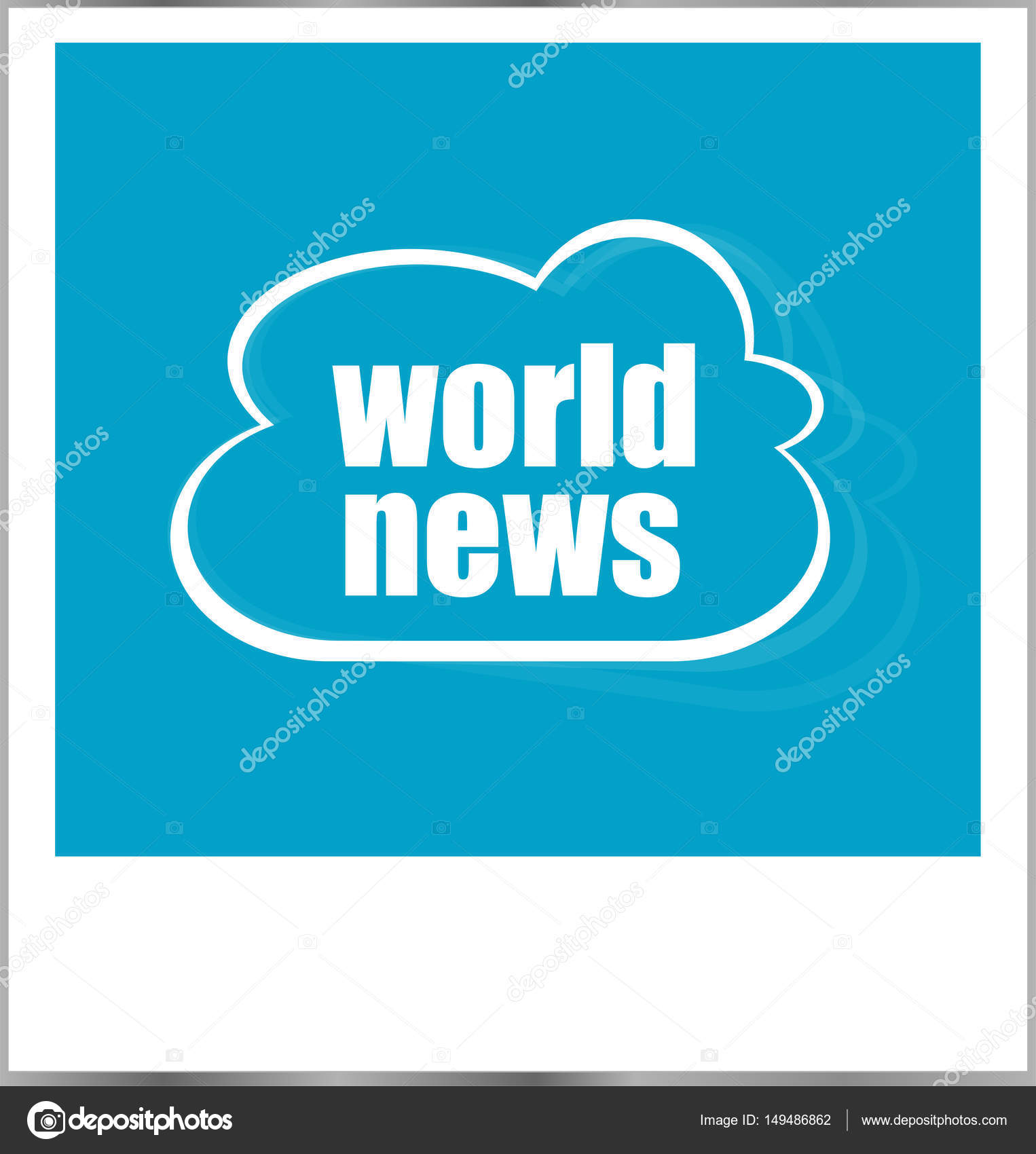 Welt Nachrichten Worte Geschäftskonzept, Fotorahmen, isoliert auf ...