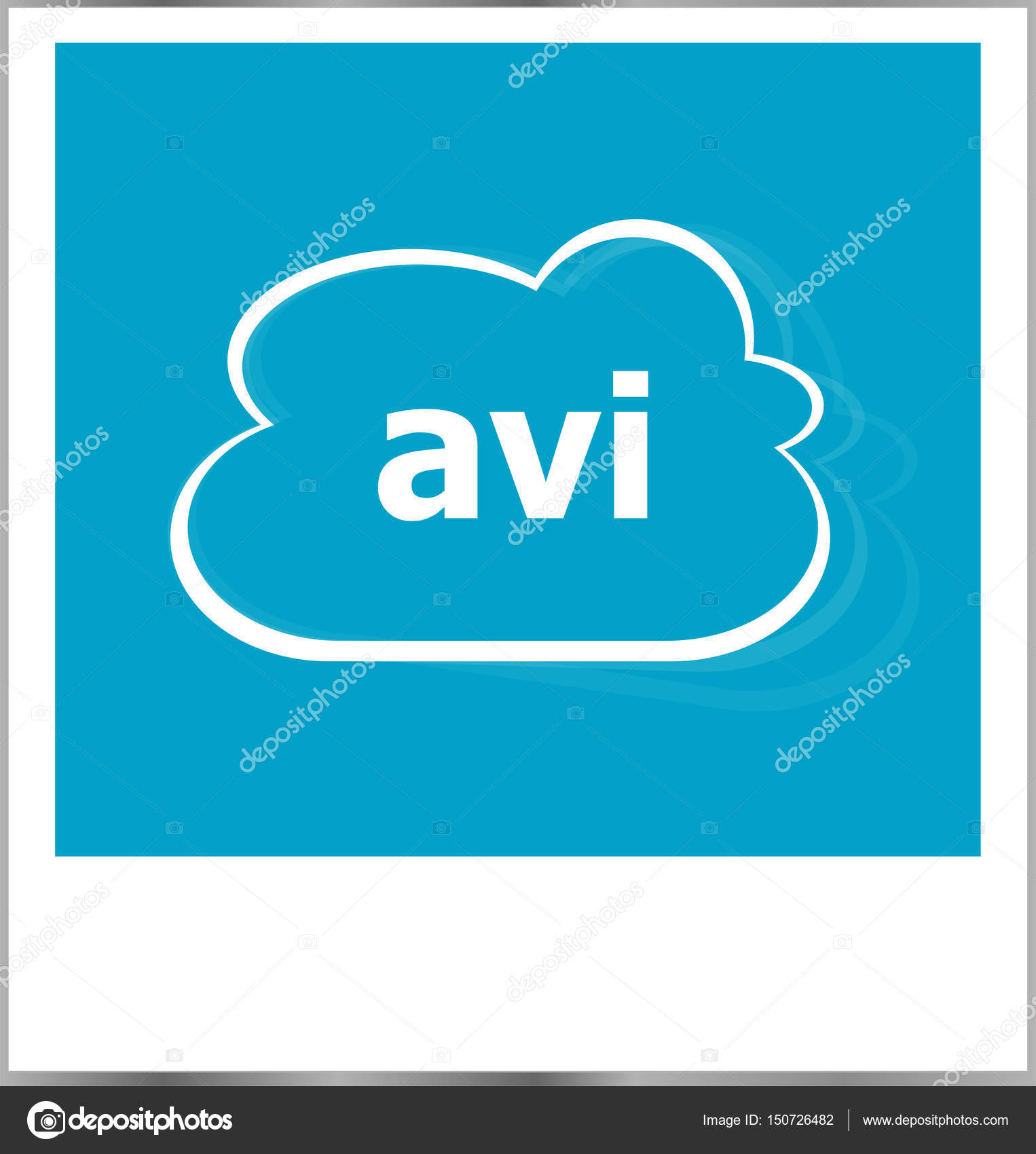 instant photo frame with cloud and avi word, internet concept ...