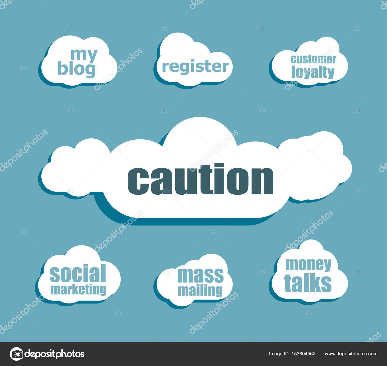 Security-Konzept. Wort Vorsicht. Gestalten Sie mit abstrakten Rede ...