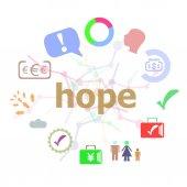 Text naděje. Obchodní koncept. Sada ikon pro křivky a slovo typografie na pozadí