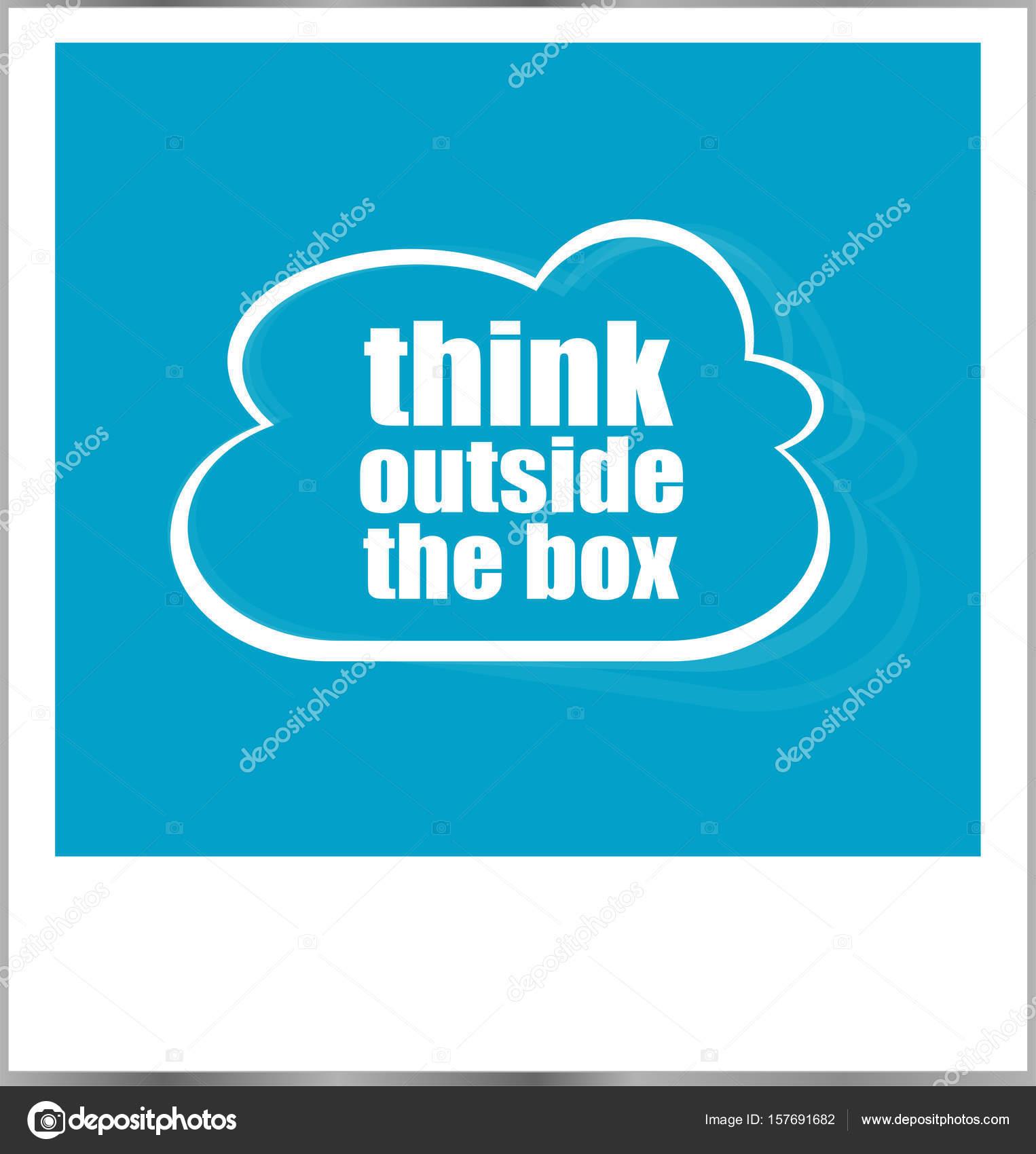 Denken Sie außerhalb der Box Wort Geschäftskonzept, Fotorahmen auf ...