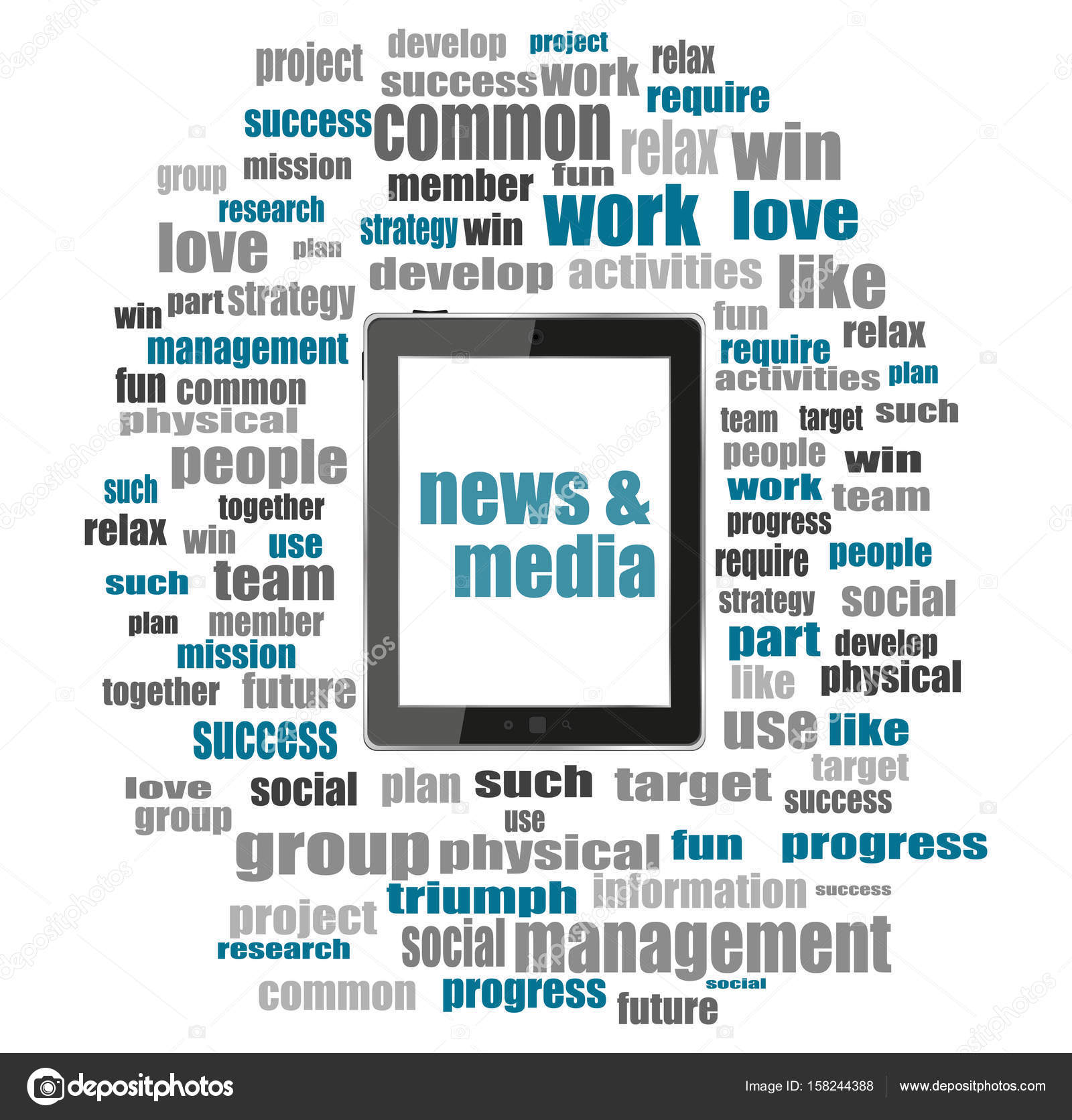 News And Press Concept Words News And Media Tablet Pc With Word Cloud Collage