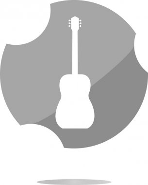 Guitar - icon button . Flat sign isolated on white background