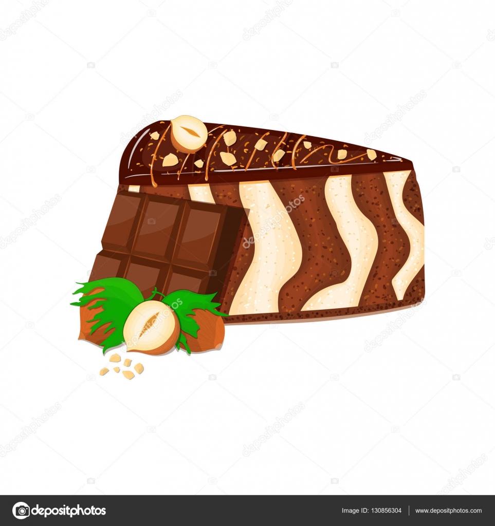 Pedazo de la torta de cebra con frutos secos y chocolate bar. Parte ...