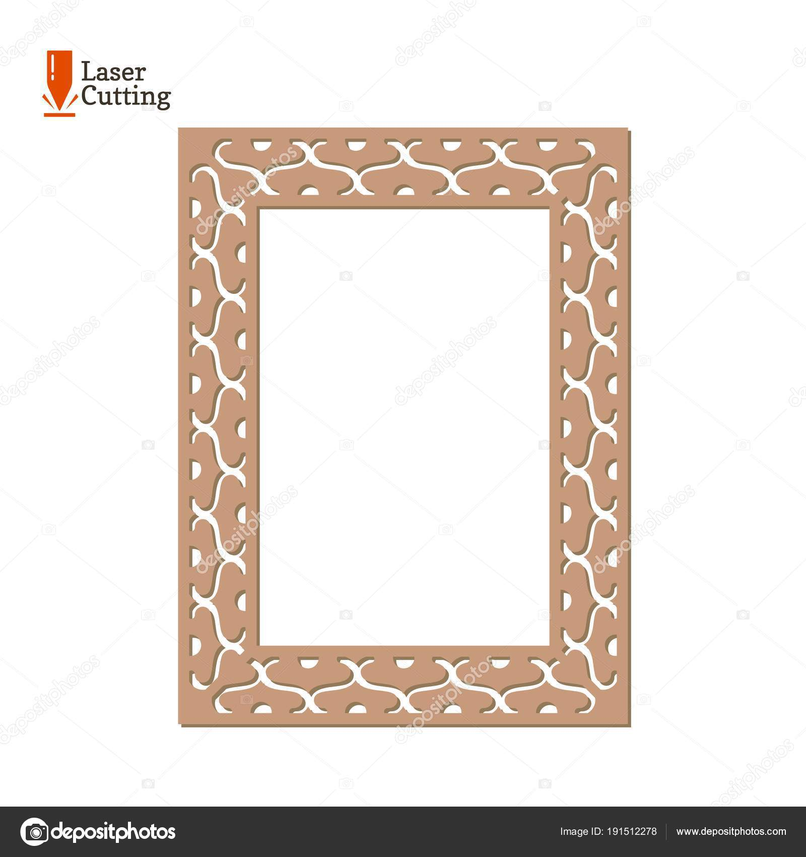 Laser cut panel. Vector frame template for cut on laser machine. Art ...