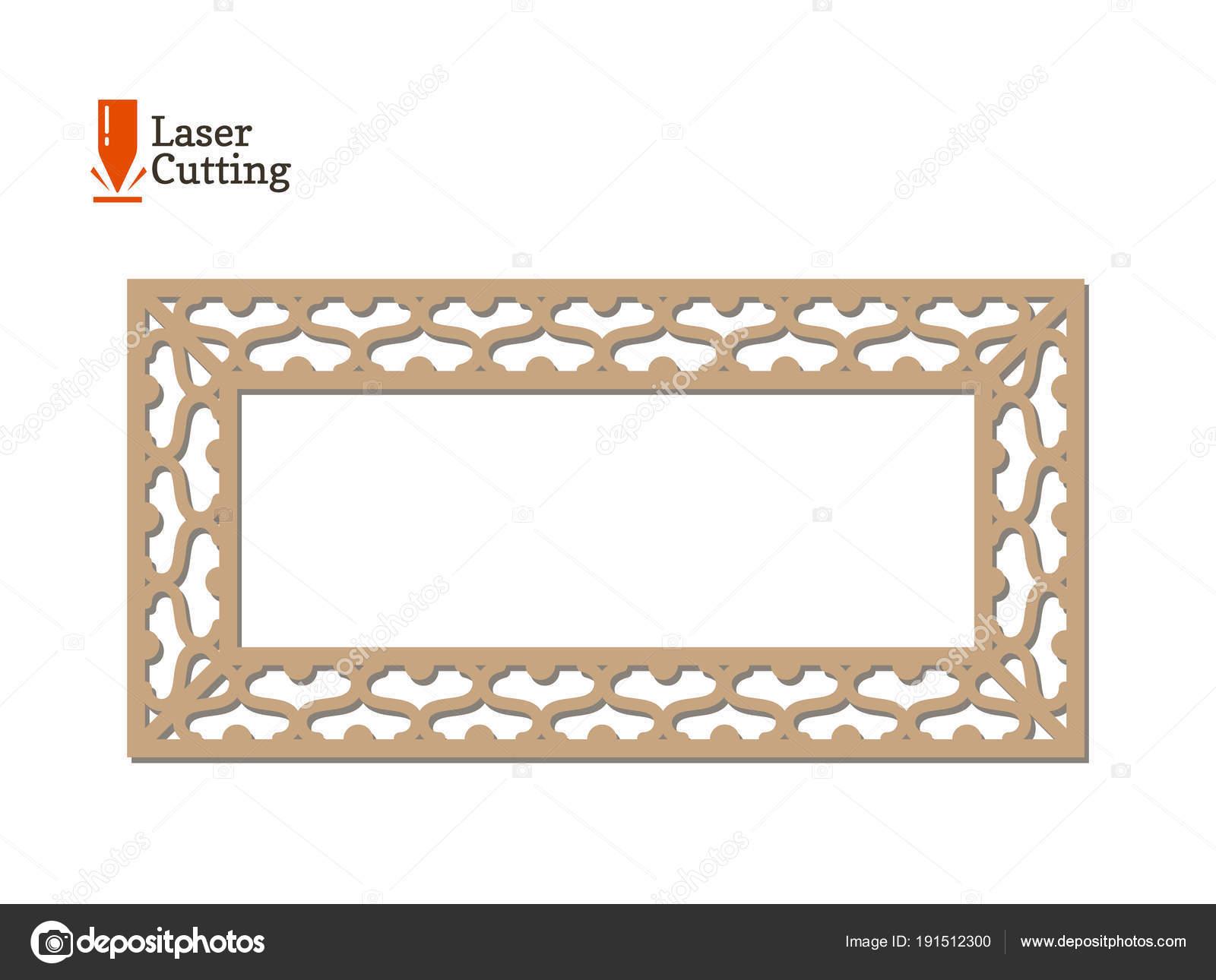 Panel de corte del laser. Vector marco una plantilla para corte en ...