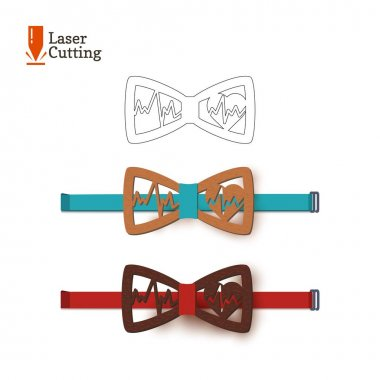 Laser cut bow-tie template. Vector silhouette for cutting a bow tie with cardiogram and heart on a lathe made of wood, metal, plastic. The idea of design of a stylish accessory for doctor.