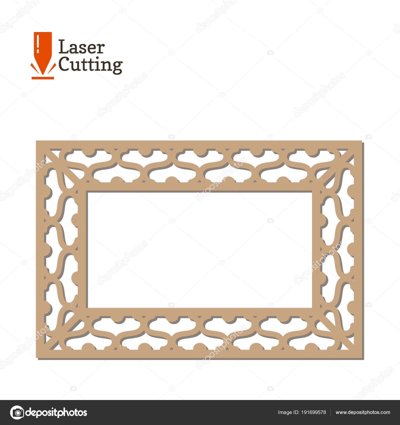 Laser cut panel. Vector frame template for cut on laser machine. Art ...