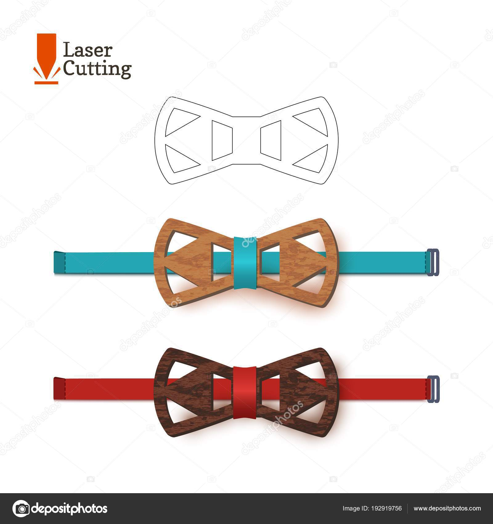 Laser Cut Bow Tie Template Vector Silhouette For Cutting A Diagram On