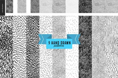 Hand drawn back and white patterns set