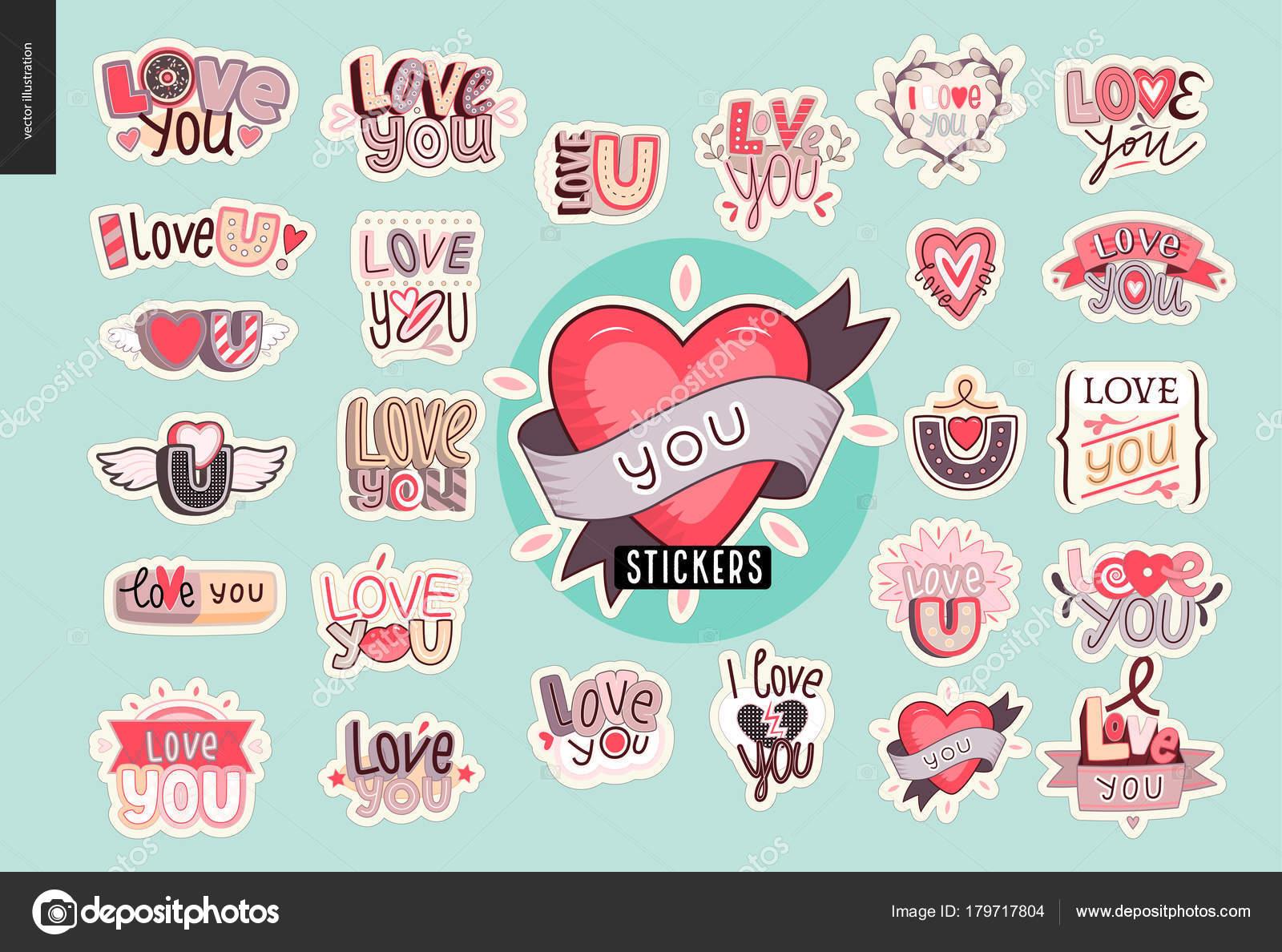 set of contemporary girlie love you letter logo stock vector