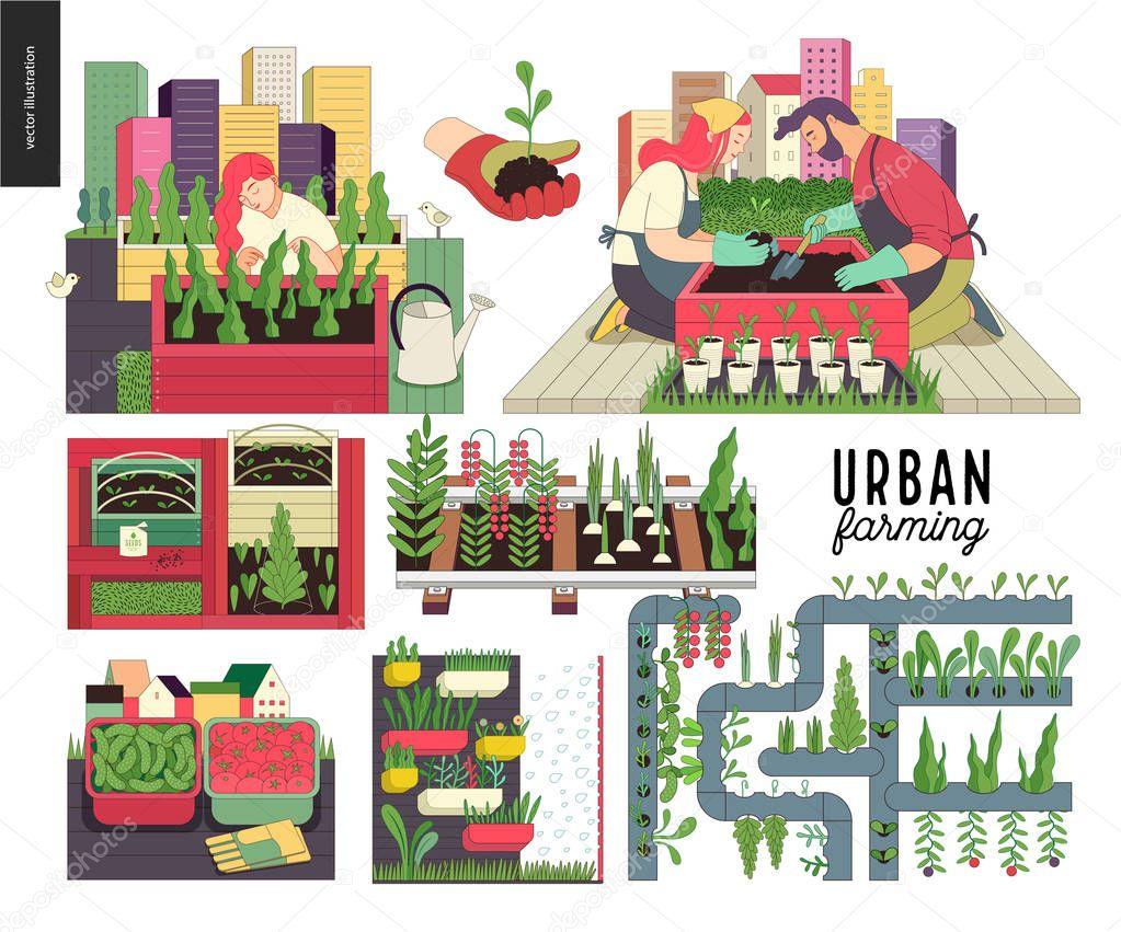 Urban farming and gardening set
