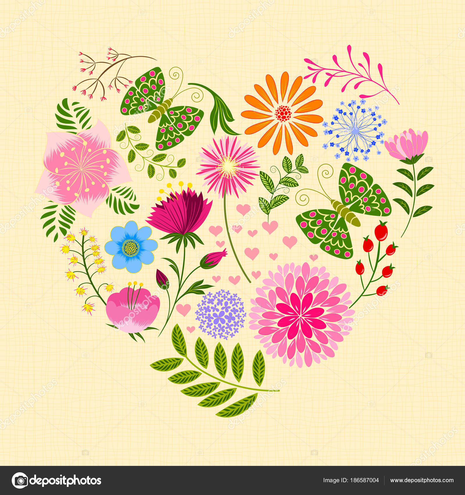 Springtime Colorful Flower And Butterfly In Heart Shape