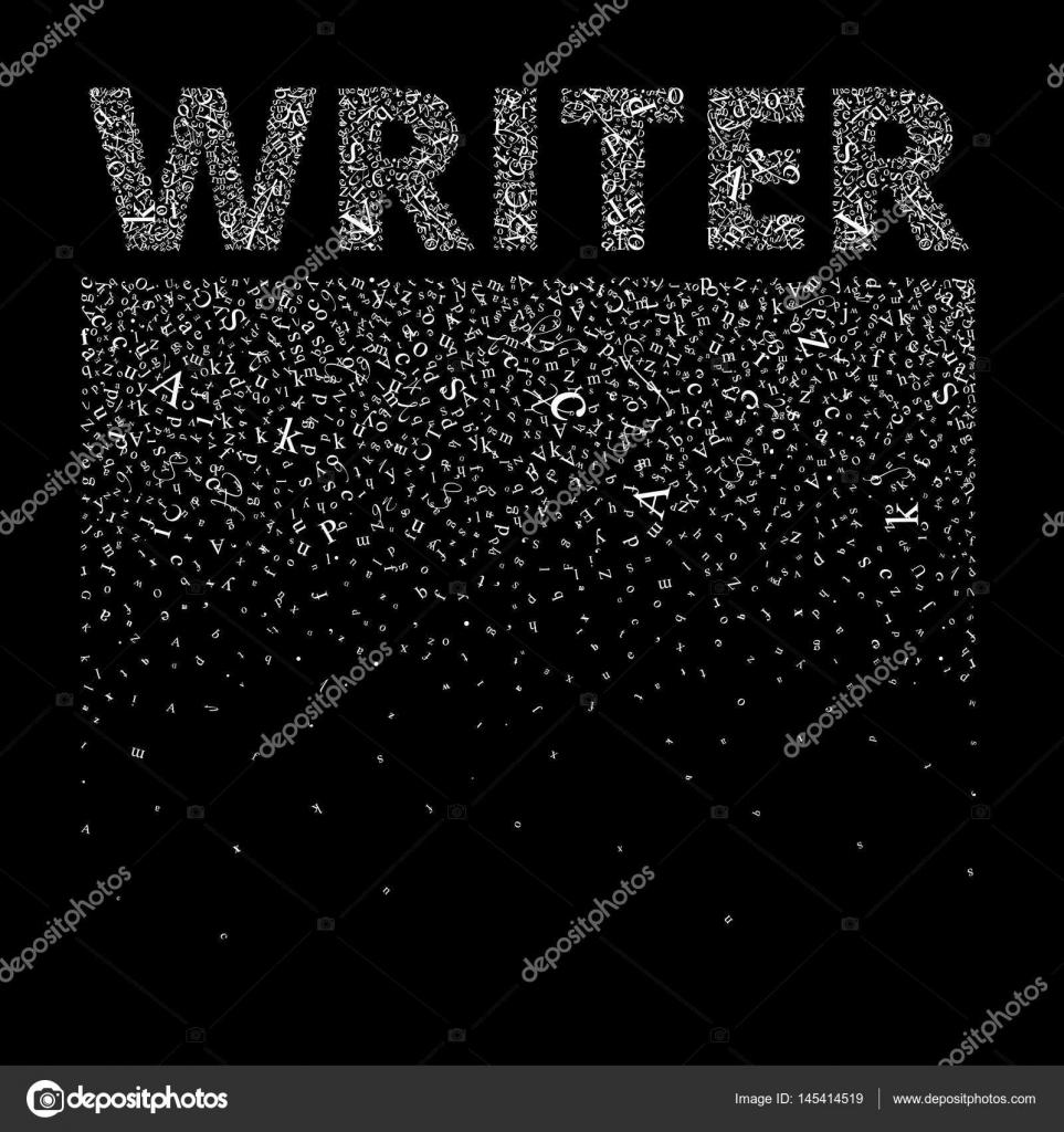 Escritor. Cartas de Resumen crean un fondo y una palabra — Vector de ...