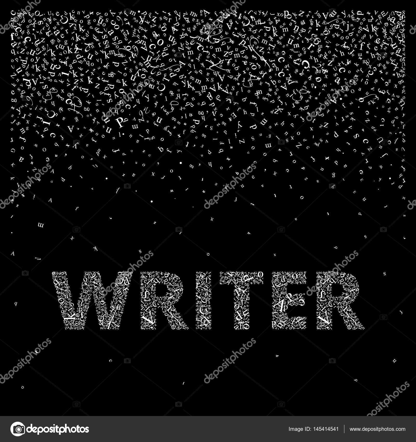 Escritor. Cartas de Resumen crean un fondo y una palabra — Archivo ...