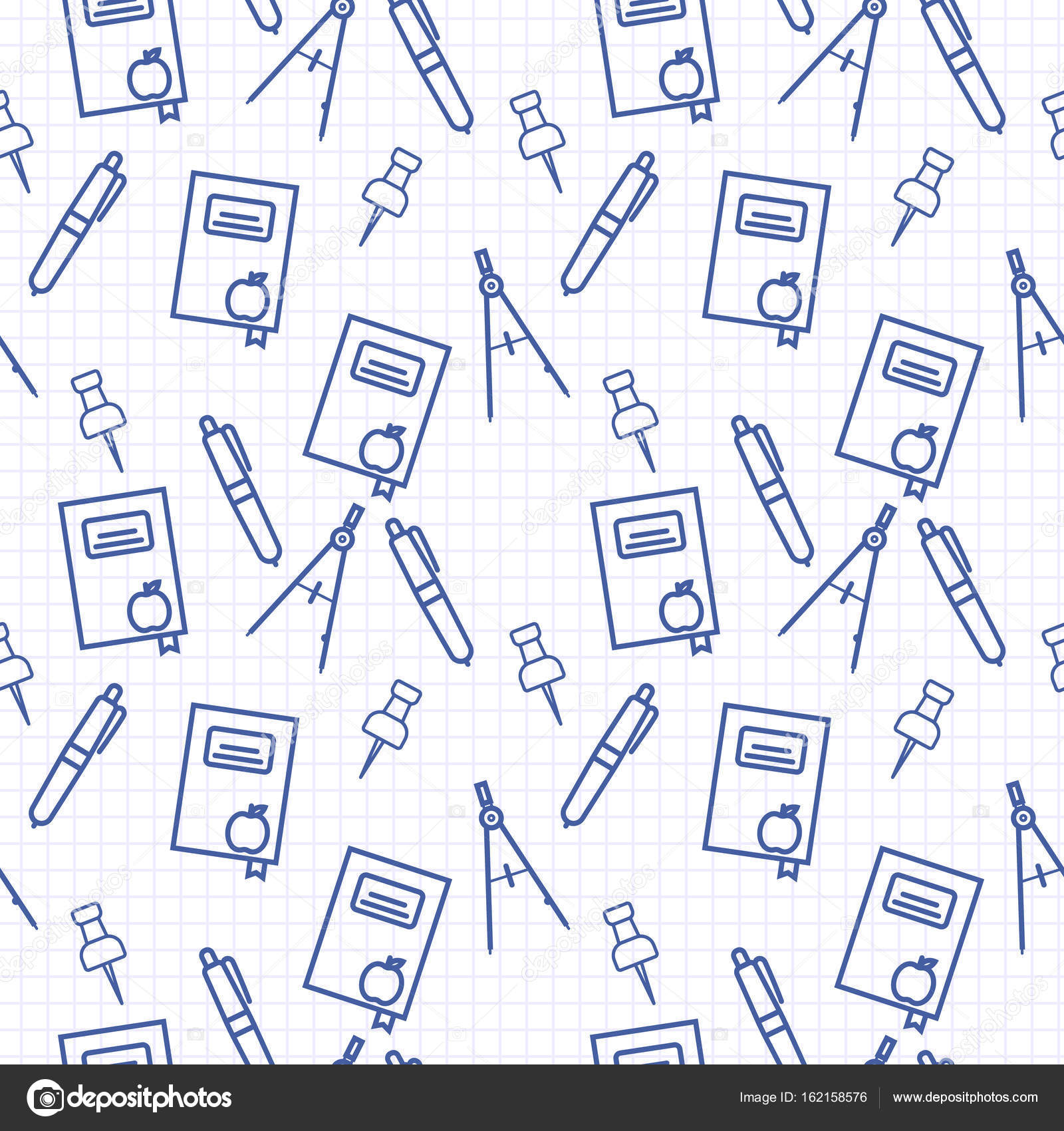Seamless Pattern With Blue Line Art Icon Of Notebook Compasses Pen