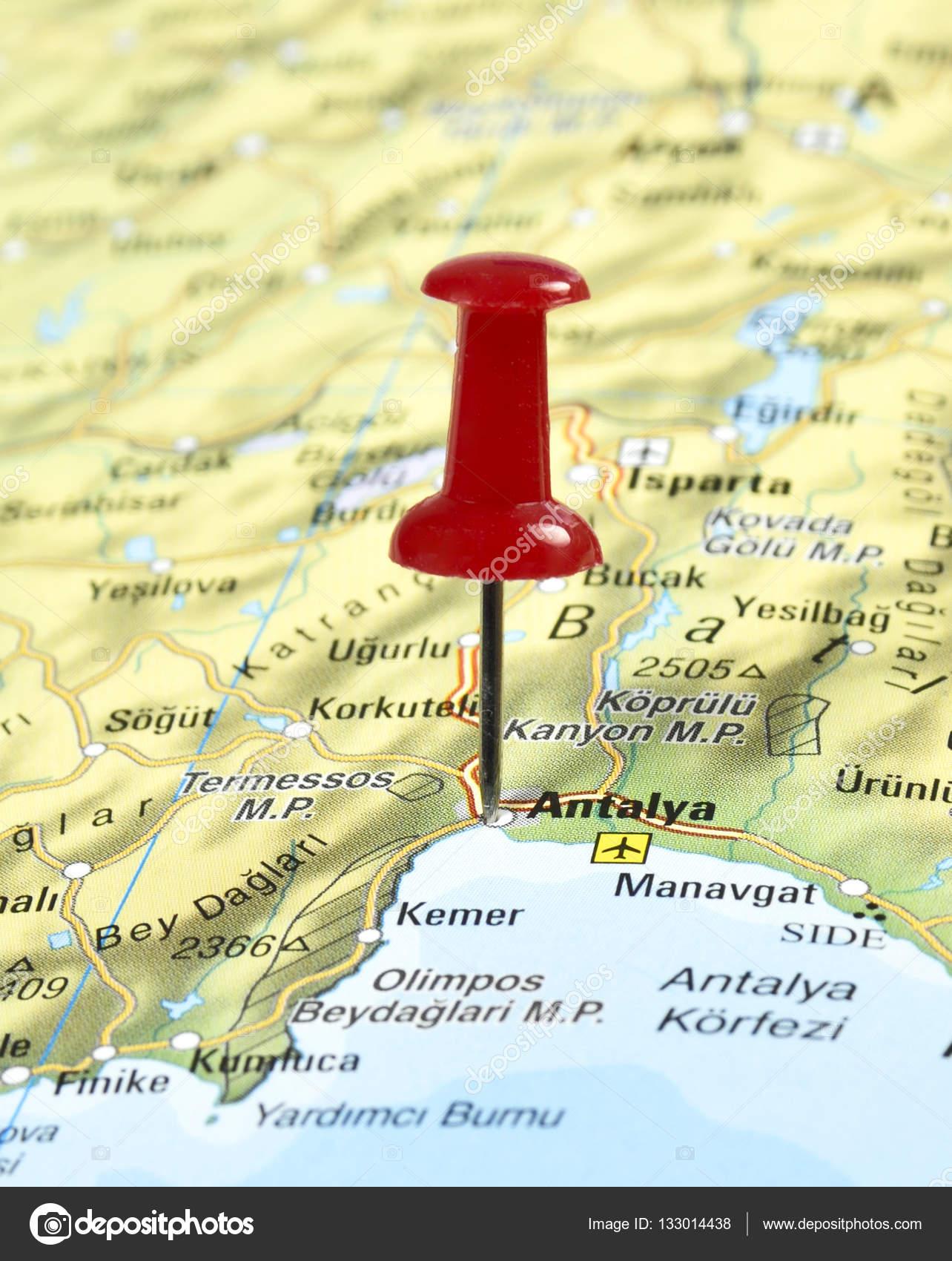 karta över side turkiet Karta över Turkiet med PIN kod på Antalya — Stockfotografi  karta över side turkiet