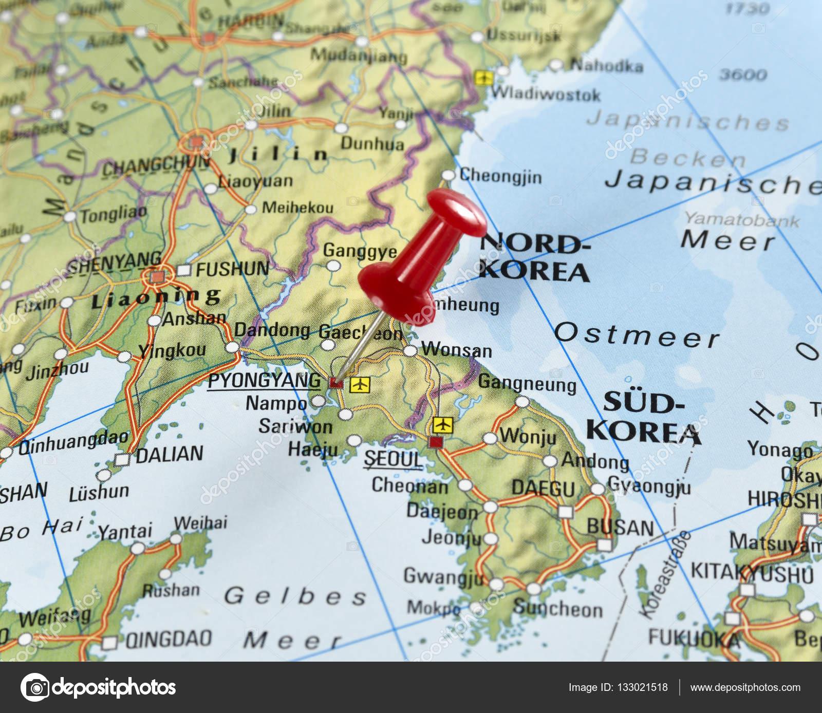 North Korea With Pin Set On Pyongyang Stock Photo C Eivaisla