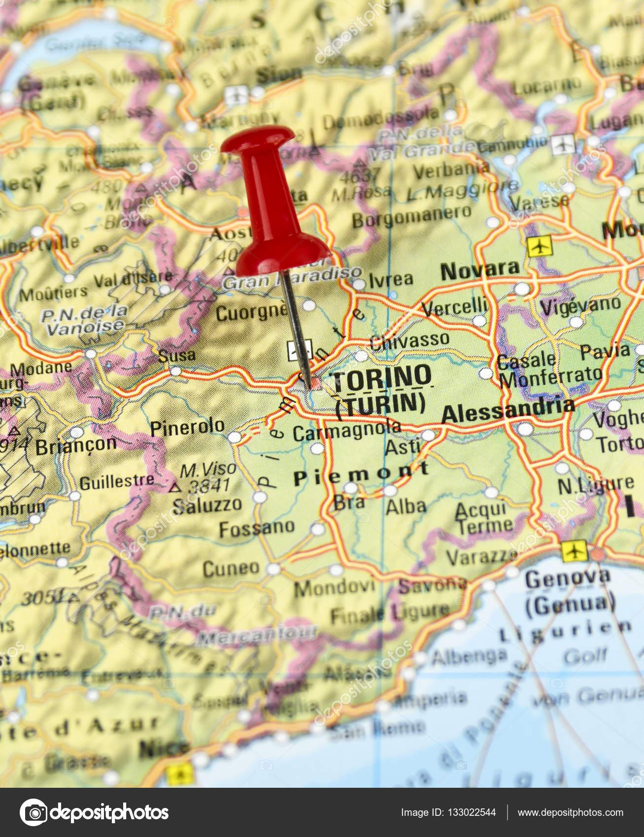 mapa de turim Itália pino conjunto em Turim — Fotografias de Stock  mapa de turim