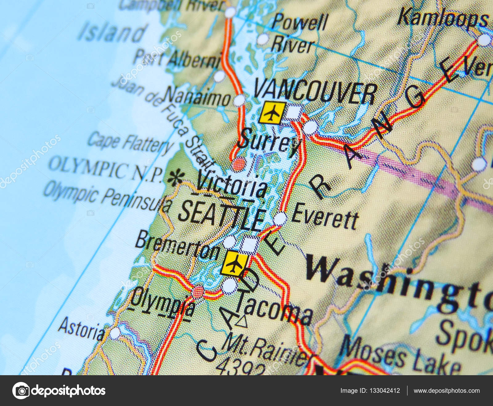 Seattle Cartina.Usa With Focus On Seattle Stock Photo C Eivaisla 133042412