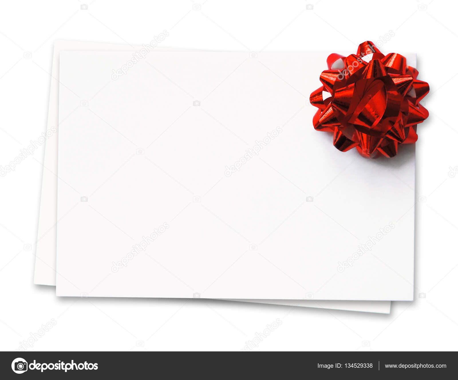 Blank White Cards With Red Ribbon Stock Photo Eivaisla 134529338