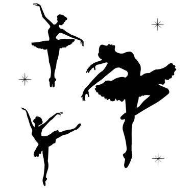 Black silhoette of dancind balerinas.Vector Illustration.