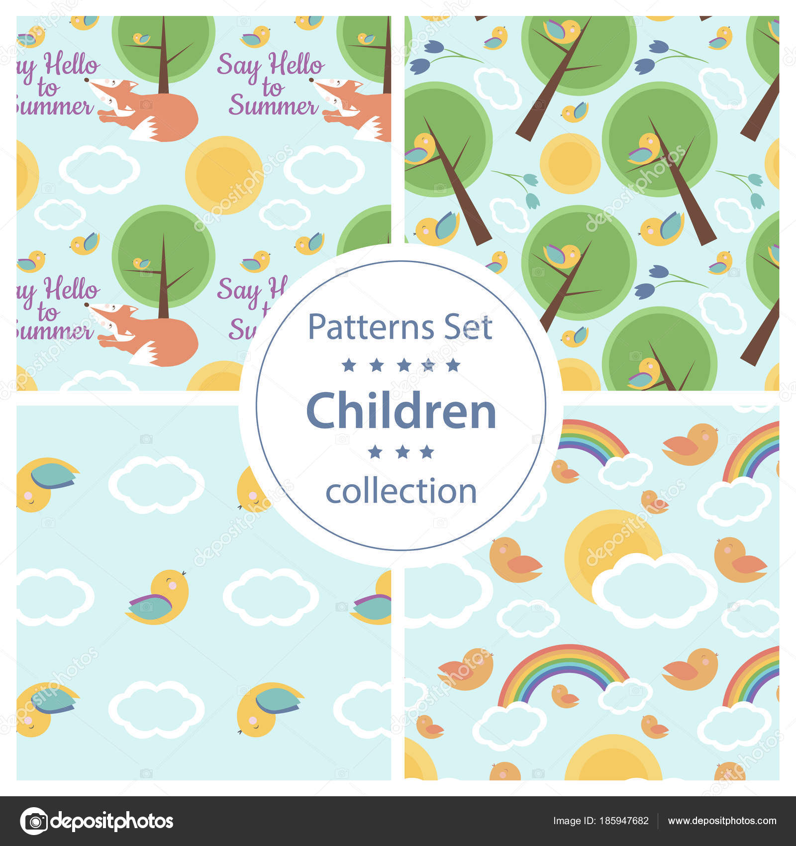 fa0a957f1 Set Cute Seamless Patterns Kids Design Fairy Tale Background Perfect — Stock  Vector