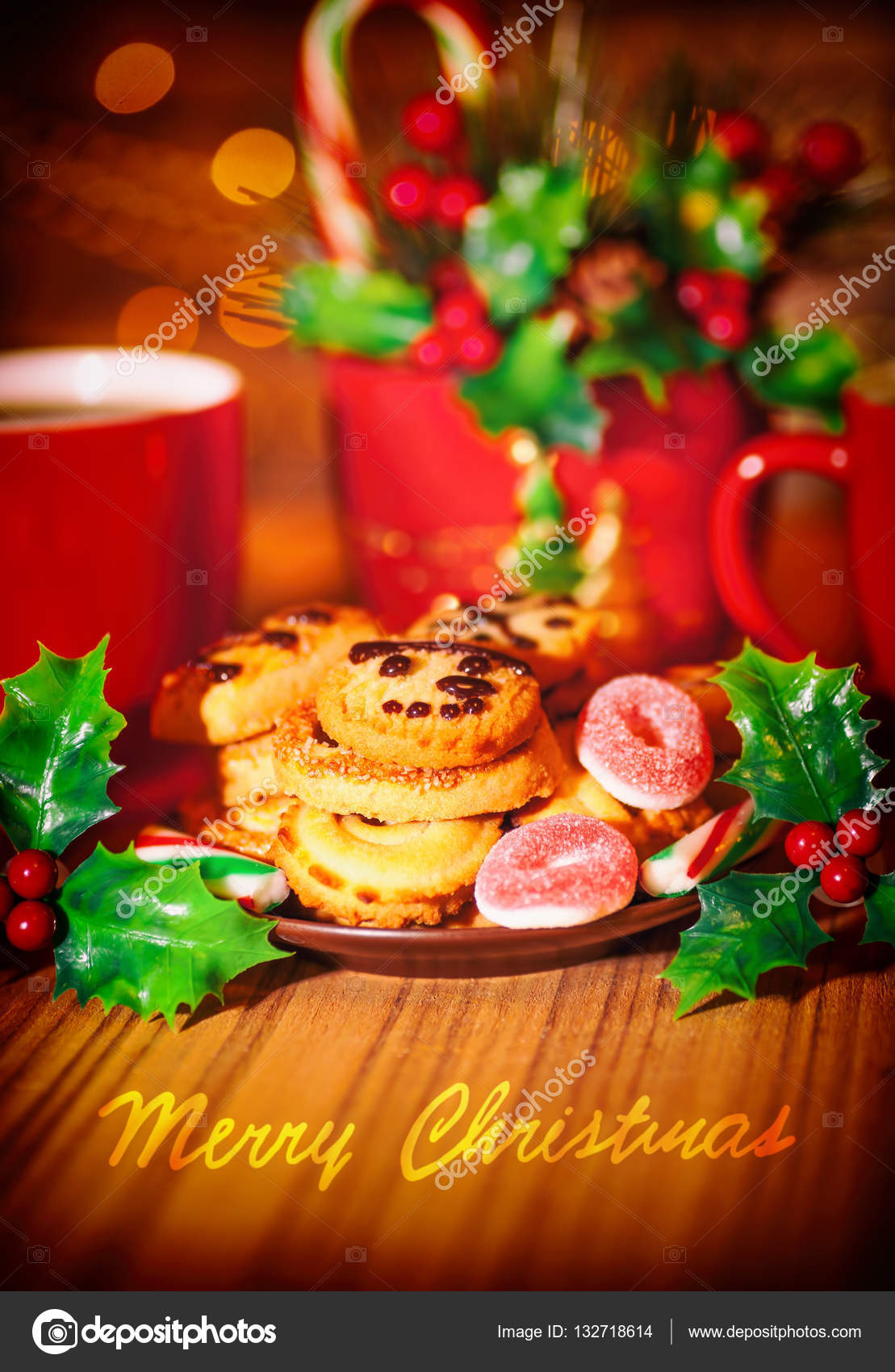 Merry christmas greeting card stock photo annaom 132718614 merry christmas greeting card beautiful cozy festive sweets still life tasty homemade cookies with two cups of hot chocolate on the wooden table m4hsunfo
