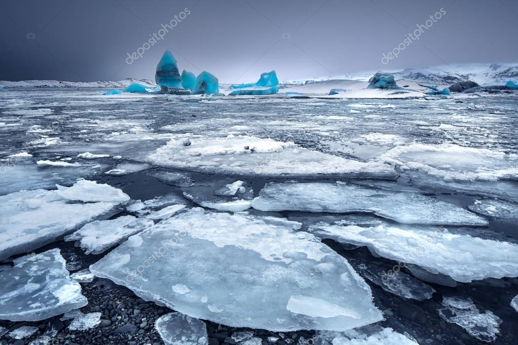 Glacial lake with icebergs