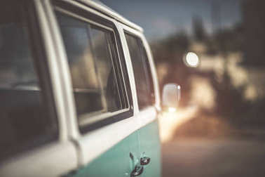 Cute old-fashioned campervan