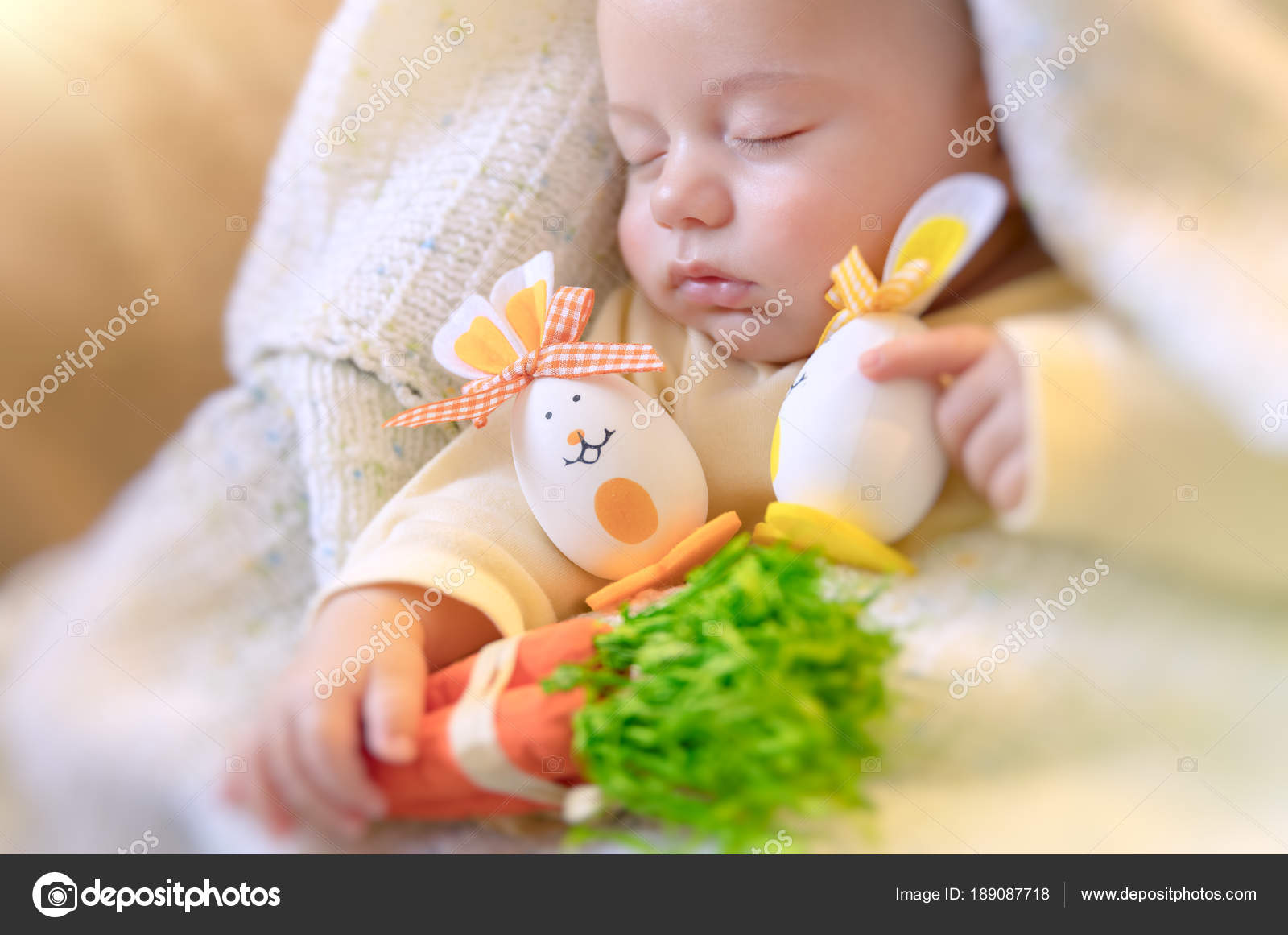 cute baby sleeping with easter decorations — stock photo © anna_om