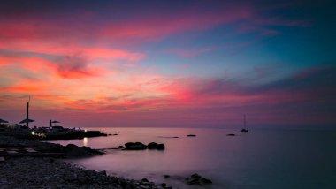 Beautiful pink sunset landscape