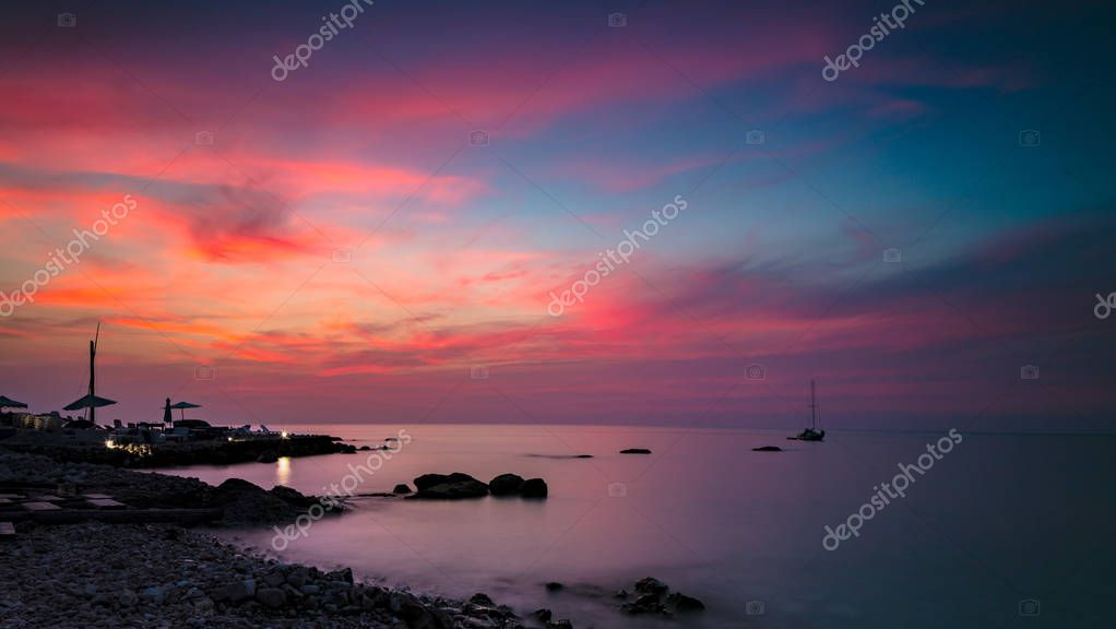 Beautiful pink sunset landscape